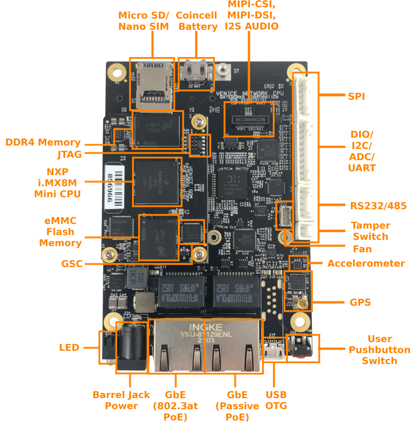 industrial single board computer top labeled