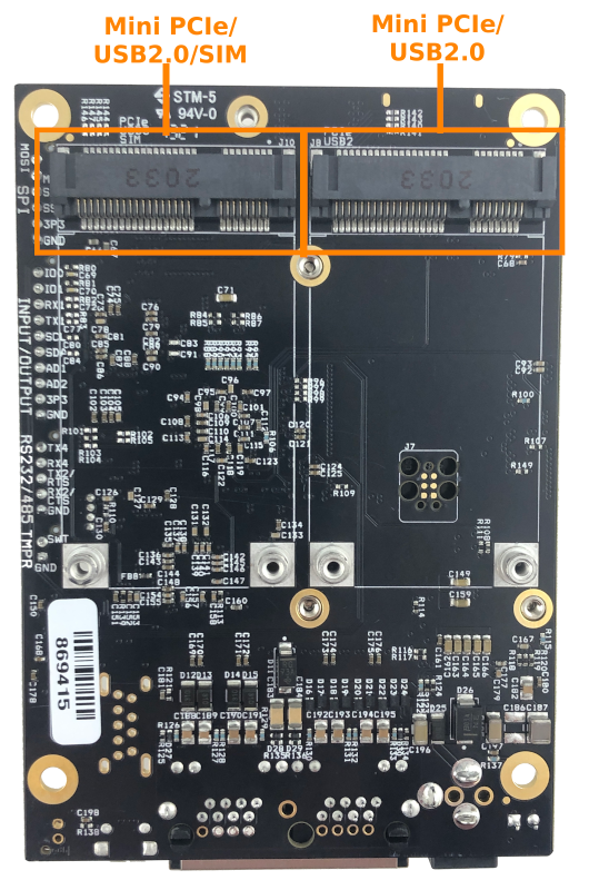 industrial single board computer bottom labeled