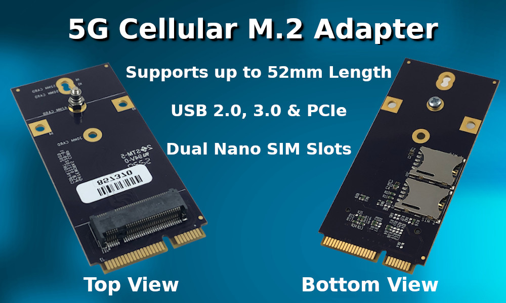 5G Cellular Modem M.2 Adapter for Mini-PCIe slots